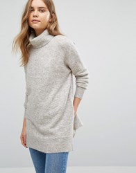 Warehouse Boxy Stretch Mohair Jumper Neutral Beige