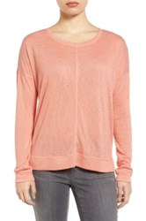 Caslon Soft Jersey Sweatshirt Petite Orange