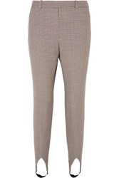 Givenchy High Rise Checked Wool Tapered Stirrup Pants Brown