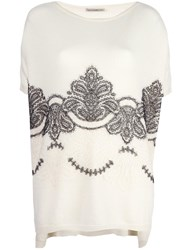 Ermanno Scervino Baroque Lace Detail Jumper White