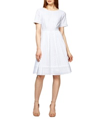Kay Unger Geo Eyelet Pleated A Line Dress White