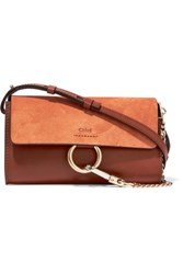 Chloe Faye Mini Leather And Suede Wallet Brown