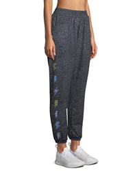 Terez Printed Heather Jogger Pants Gray Pattern