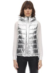 Yves Salomon Reversible Metallic And Fur Vest Silver