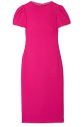 Brandon Maxwell Wool Crepe Midi Dress Fuchsia