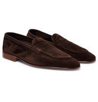 Edward Green Polperro Leather Trimmed Suede Penny Loafers Brown