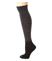 Bootights Dakota Vintage Floral Knee High Ankle Sock Charcoal Knee High Hose Gray