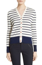 Tory Burch Women's Marcel Stripe And Floral Cotton Cardigan