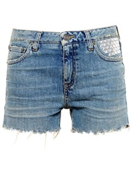 Saint Laurent Studded Denim Shorts