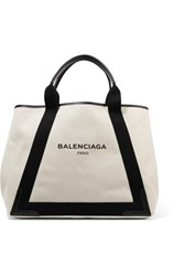 Balenciaga Cabas Leather Trimmed Canvas Tote Cream