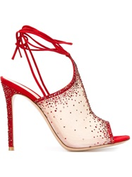 Gianvito Rossi Swarovski Embellished Sandals Red