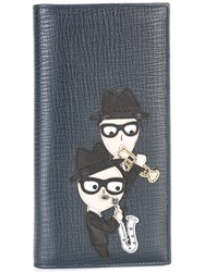Dolce And Gabbana Designer's Patch Long Wallet Blue