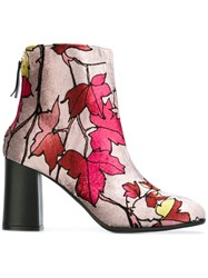 Msgm Leaf Print Ankle Boots Pink And Purple