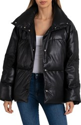 Bagatelle Faux Leather Puffer Jacket Black