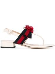 Gucci Floral Web Andals Women Leather Polyester 38 White