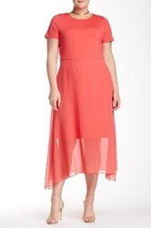 Vince Camuto Short Sleeve Chiffon Overlay Dress Plus Size Pink
