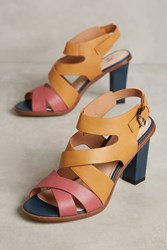 Anthropologie Vanessa Wu Colorblock Heeled Sandals Pink