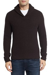 Lanai Collection Men's Shawl Collar Ribbed Wool And Cashmere Pullover