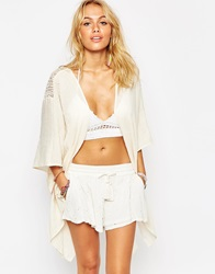 Surf Gypsy Embroidered Mesh Back Kimono Ivory