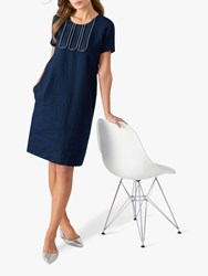 Pure Collection Linen Stitch Dress Navy White