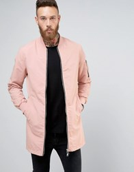 Brave Soul Long Line Zip Through Jacket Pink