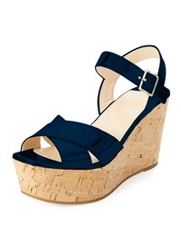Prada Patent Leather Cork Wedge Sandal Navy
