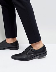Frank Wright Monk Shoes In Black Leather