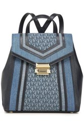 Michael Michael Kors Woman Whitney Logo Print Denim And Faux Leather Backpack Mid Denim