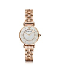 Emporio Armani Rose Gold Pvd Stainless Steel Women's Quartz Watch W Mother Of Pearl Signature Dial Pink