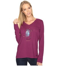 Life Is Good Mason Jar Engraved Long Sleeve Crusher Vee Deep Plum Women's T Shirt Purple