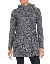Kenneth Cole Reaction Asymmetrical Hooded Coat Black Grey Tweed