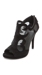 Stuart Weitzman Showbiz Mesh Open Toe Booties Black
