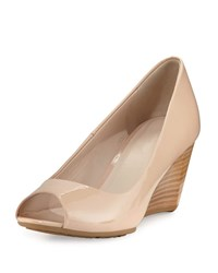 Cole Haan Sadie Grand Patent Leather Wedge Pump Nude