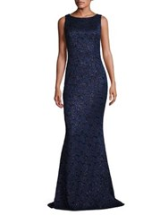 Carmen Marc Valvo Sleeveless Lace Gown Midnight
