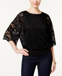 Jm Collection Lace Dolman Sleeve Top Only At Macy's Deep Black