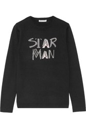 Bella Freud Star Man Metallic Intarsia Wool Blend Sweater Black