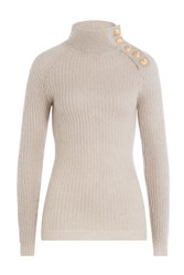 Balmain Turtleneck Pullover With Embossed Buttons Beige