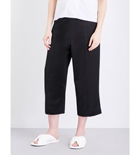 Victoria Beckham Cropped Silk Blend Trousers Black