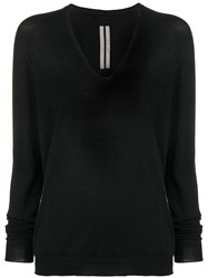 Rick Owens Classic V Neck Knit Sweater Black