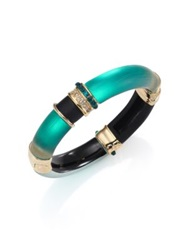 Alexis Bittar Sport Deco Lucite And Crystal Colorblock Bangle Bracelet Green Gold Multi