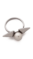 Joomi Lim Vicious Love Imitation Pearl Pyramid Ring Platinum Ruthenium