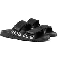 Versace Logo Detailed Webbing And Rubber Sandals Black