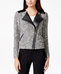 Calvin Klein Tweed Faux Leather Moto Jacket Black White