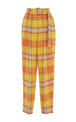 Delpozo Checkered Pleated Trousers Yellow Orange