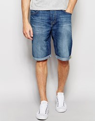 Lee Denim Shorts 5 Pocket Straight Fit In Blue Collective Mid Wash Blue Collective