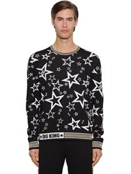 Dolce And Gabbana Jacquard Knit Virgin Wool Blend Sweater Black