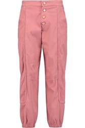 See By Chloe Embroidered Cotton Blend Tapered Pants Antique Rose