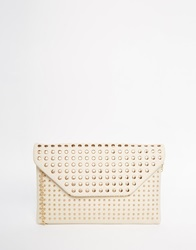 New Look Studded Envelope Clutch Bag Cream