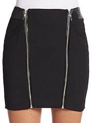 The Kooples Zipper Trim Leather Panel Wool Mini Skirt Black