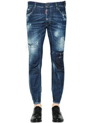 Dsquared 17Cm Tidy Biker Destroyed Denim Jeans Blue
